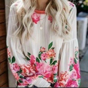 Floral Chiffon Mock Neck Blouse-LAST ONE 🎉…